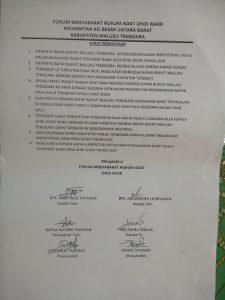 surat pernyataan sikap warga Waer