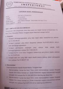Ini Kesimpulan dan Rekomendasi Inspektorat Kabupaten Malra atas pengelolaan Dana Desa Abean Kamear tahun anggaran 2018