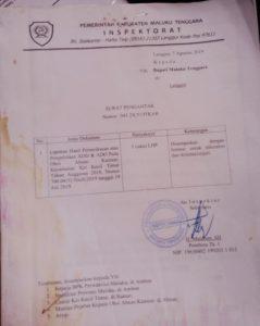 Ini bukti surat pengantar dokumen LPH Dana Desa Abean Kamear, ditandtangani Sekretaris Inspektorat, H. Matdoan, SH, tanggal 7 Agustus 2019