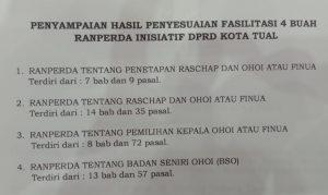 Ini dokumen empat Ranperda Pilkades Kota Tual