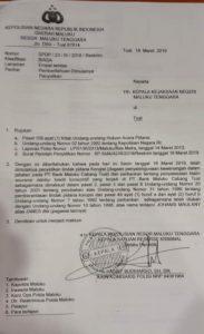 Ini laporan polisi kasus dugaan korupsi Bank Maluku Cabang Tual
