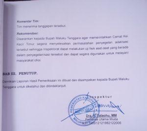 LHP Dana Desa Abean Kamear tahun 2018, ditandatangani Kepala Inspektur, Dra. F. Talaohu, MM