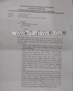 Ini surat warga ke Bupati Malra dan Rat Manyeuw