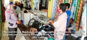 Sosialisasi pencegahan wabah covid-19, Brimob Maluku