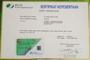 Ini sertifikat BPJS Ketenagakerjaan CV.Prima Media Utama