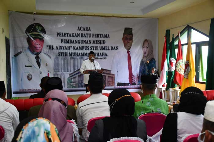 Walikota Tual, Adam Rahayaan, S.Ag, dalam amanatnya pada peletakan batu pertama Pembangunan Masjid Aisyah Kampus STIE Umel Tual, Rabu ( 03/2/2021 ).